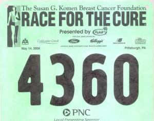 [2006 Race for the Cure 5K bib]